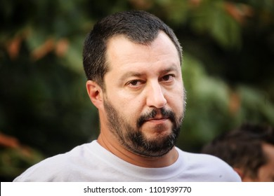 Milan, Italy - May, 2015:  Matteo Salvini portraits, the leader of the Lega Nord party during an election campaign event