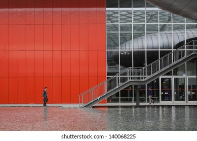 MILAN, ITALY - MAY 22: exterior building of fieramilano Tuttofood, Milano World Food Exhibition on May 22, 2013 in Milan, Italy