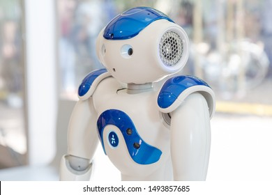 MILAN, ITALY - MAY 24: Nao robot on display at Wired Next Fest, event dedicated to future, innovation and creativity on MAY 24, 2019 in Milan.