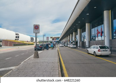 Milan, Italy - May 24th, 2017: The entrance to Malpensa International Airport in Milan, Italy is a major international airport and also Alitalia's hub