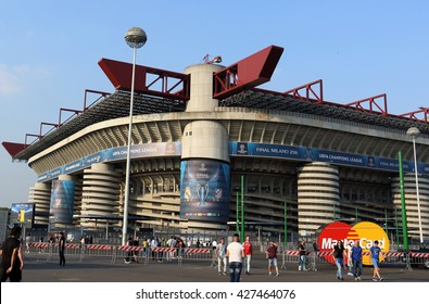 MILAN, ITALY - MAY 27, 2016: Giuseppe Meazza stadium, known as San Siro, the day before the 2016 UEFA Champions League final game between Real Madrid and Atletico