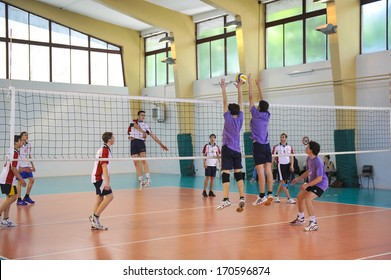 MILAN, ITALY - MAY 27: college sports finals in Milan May 27, 2013. Male volleyball.