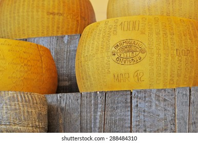 MILAN, ITALY - MAY 28, 2015: Parmigiano Reggiano or parmesan, the king of cheeses, traditional Italian cheese with a protected designation of origin under Italian and European law