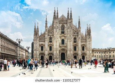MILAN, ITALY - May 29, 2018: street view of Milan Cathedral, Dome de Milan is the cathedral church