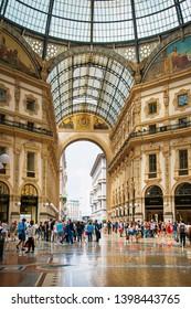 MILAN, ITALY - May 29, 2018: Galleria Vittorio Emanuele II shopping mall, Milan, italy.