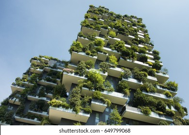 MILAN, ITALY - MAY 30, 2017: Bosco Verticale (Vertical Forest) low view. Sustainable green building in Porta Nuova district, in Milan