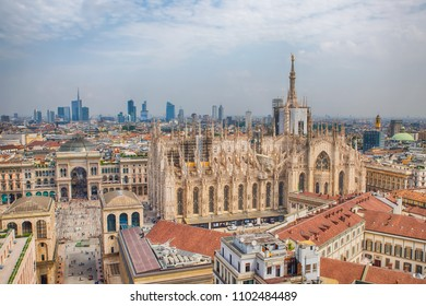 Milan, Italy / May 31, 2018: view of Duomo di Milano & Vittorio Emanuele Gallery  from Martini lounge rooftop, skyscraper of Porta Nuova on background