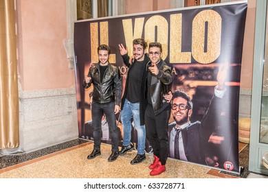 "Milan, Italy - May 4, 2017: The band ""Il Volo"", Ignazio Boschetto, Gianluca Ginoble and Piero Barone, in a public conference."