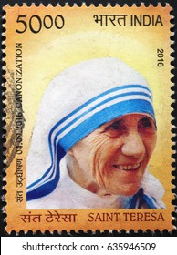 Milan, Italy - May 4, 2017: Portrait of mother Teresa on indian postage stamp