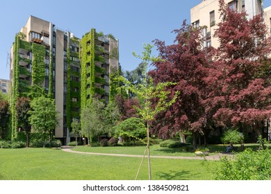 Milan, Italy - May 6, 2018: Apartment building with a large courtyard around the green neighbourhood of Milan