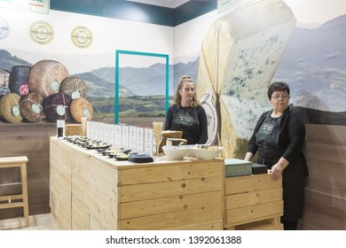 MILAN, ITALY - MAY 6: Exhibitors work in their stand at Tuttofood, world food exhibition on MAY 6, 2019 in Milan.