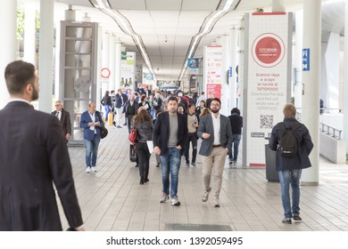MILAN, ITALY - MAY 6: People visit Tuttofood, world food exhibition on MAY 6, 2019 in Milan.