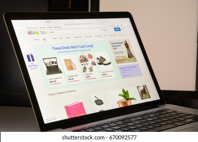 Milan, Italy - May 7, 2017: Homepage of ebay website. eBay is a multinational e-commerce corporation, facilitating online consumer-to-consumer and business-to-consumer sales.
