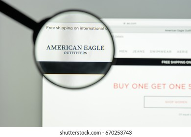 Milan, Italy - May 7, 2017: American Eagle website homepage. It's a fashion e-commerce store. Logo