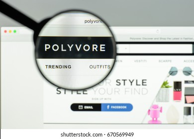 Milan, Italy - May 7, 2017: Polywore website homepage. It's a fashion e-commerce store.