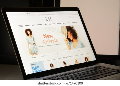 Milan, Italy - May 7, 2017: GAP brand website homepage. It's a fashion e-commerce store.