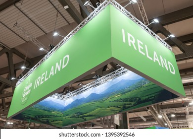 MILAN, ITALY - MAY 7: Detail of Ireland stand at Tuttofood, world food exhibition on MAY 7, 2019 in Milan.