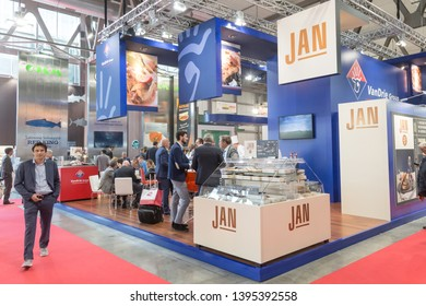MILAN, ITALY - MAY 7: People visit Tuttofood, world food exhibition on MAY 7, 2019 in Milan.
