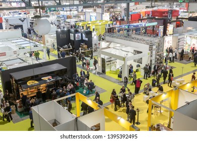 MILAN, ITALY - MAY 7: Top view of people and booths at Tuttofood, world food exhibition on MAY 7, 2019 in Milan.