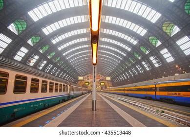 MILAN, ITALY - MAY 8, 2014 Train station in Milan, foggy morning, Italy