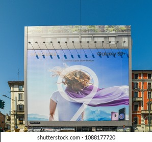 Milan, Italy - May 8, 2018: Billboard advertisement on a building facade for the Samsung S9 smartphone