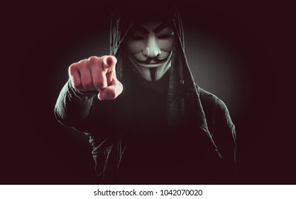 MILAN, ITALY, MAY 8TH 2017.Anonymous character with mask. Anonymous is a loosely associated international network of activist and hacktivist entities.