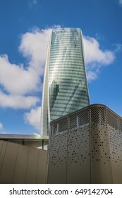 """MILAN, ITALY, May,28, 2017 - Isozaki Tower in """"City Life"""" complex in 3 Torri Milan place, modern buildings and condos."""