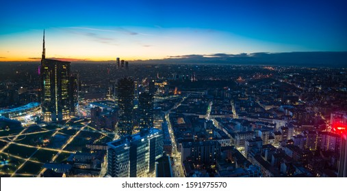 Milan (Italy) night aerial view.  Panoramic view from the Lombardy Region building.