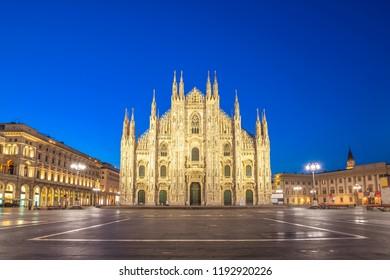 Milan Italy, night city skyline at Milano Duomo Cathedral