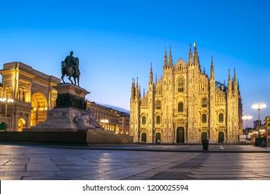 Milan Italy, night city skyline at Milano Duomo Cathedral