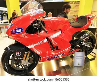 MILAN, ITALY - NOV. 03: Ducati Desmosedici in exhibition at EICMA, 68th International Motorcycle Exhibition November 03, 2010 in Milan, Italy.