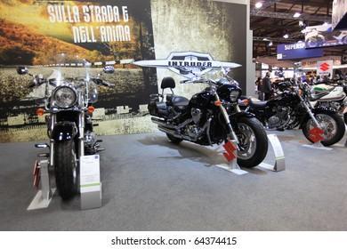 MILAN, ITALY - NOV. 03: Suzuki Intruder customization in exhibition at EICMA, 68th International Motorcycle Exhibition November 03, 2010 in Milan, Italy.
