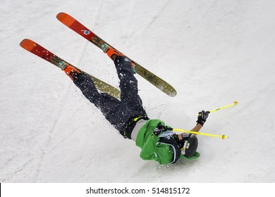 MILAN, ITALY - NOV 10, 2016: Freestyle Ski World Cup practice day during Big Air Milan.