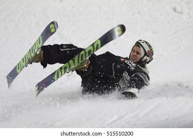 MILAN, ITALY - NOV 11, 2016: Freestyle Ski Race during Big Air Milan.