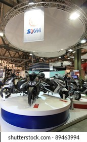 MILAN, ITALY - NOV. 11: Sym motorcycles in exhibition at EICMA, 69th International Motorcycle Exhibition on November 11, 2011 in Milan, Italy.
