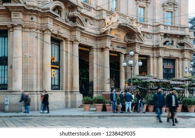 Milan, Italy - Nov 22, 2018: Exterior of the the first Starbucks concept store in Milan, Italy known as the Milano Roastery