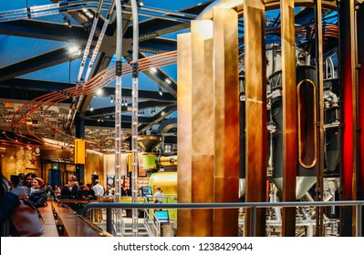 Milan, Italy - Nov 22, 2018: Wide angle view of the interior of the Starbucks concept store in Milan, Italy known as the Milano Roastery
