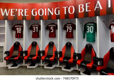 MILAN, ITALY - NOV 3, 2017: AC Milan locker room at the San Siro or Giuseppe Meazza stadium, opened in 1925
