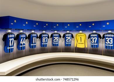 MILAN, ITALY - NOV 3, 2017: Inter Milan locker room at the San Siro or Giuseppe Meazza stadium, opened in 1925