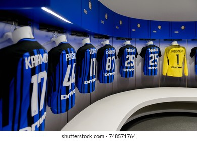 MILAN, ITALY - NOV 3, 2017: Inter Milan locker room at the San Siro or Giuseppe Meazza stadium, opened in 1925