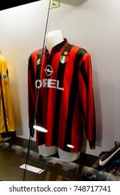 MILAN, ITALY - NOV 3, 2017: AC Milan shirt, San Siro stadium museum, opened in 1925