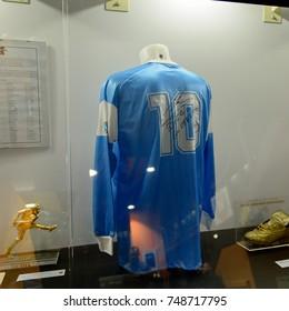 MILAN, ITALY - NOV 3, 2017: Diego Maradona Napoli shirt, San Siro stadium museum, opened in 1925