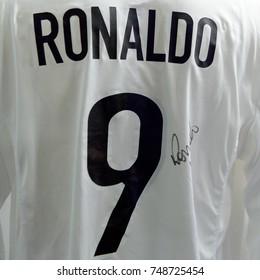 MILAN, ITALY - NOV 3, 2017: Ronaldo Luiz Nazario da Lima Inter Milan shirt, San Siro stadium museum, opened in 1925
