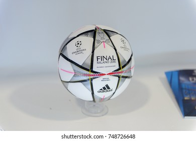 MILAN, ITALY - NOV 3, 2017: Ball of the 2016 Champions League final at the museum at the San Siro stadium, opened in 1925