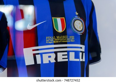 MILAN, ITALY - NOV 3, 2017: Inter Milan shirt of the 2010 Champions League final at the museum at the San Siro stadium, opened in 1925