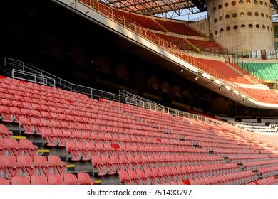 MILAN, ITALY - NOV 3, 2017: San Siro (Giuseppe Meazza) stadium, home for the F.C. Internazionale and A.C. Milan