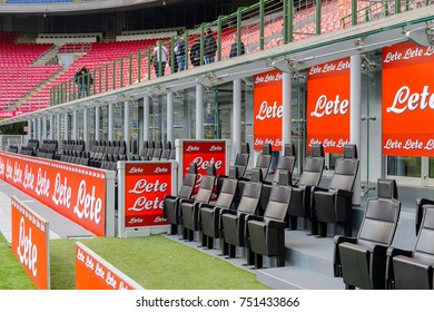MILAN, ITALY - NOV 3, 2017: Substitution playes seats, San Siro (Giuseppe Meazza) stadium, home for the F.C. Internazionale and A.C. Milan