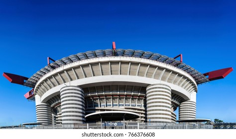 Milan, Italy - Nov 30, 2017: San Siro in Milan, Italy is a football / soccer stadium (capacity 80,018) which is home to both A.C Milan and Inter Milan