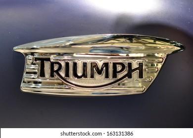 MILAN, ITALY - NOV 5: brand of Triumph at EICMA, 71 th International Motorcycle Exhibition November 5, 2013 in Milan, Italy.