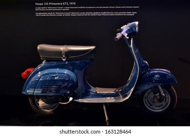 MILAN, ITALY - NOV 5: stand Piaggio old Vespa at EICMA, 71 th International Motorcycle Exhibition November 5, 2013 in Milan, Italy.